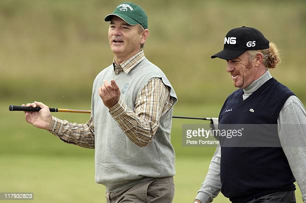 Bill Murray and Miguel Angel Jimenez during the first round of the 2006 Alfred Dunhill Links Championship held on the KIngsbarns Golf Links October 5...