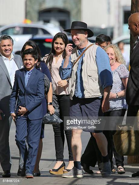Bill Murray and Neel Sethi are seen at 'Jimmy Kimmel Live' on March 31 2016 in Los Angeles California