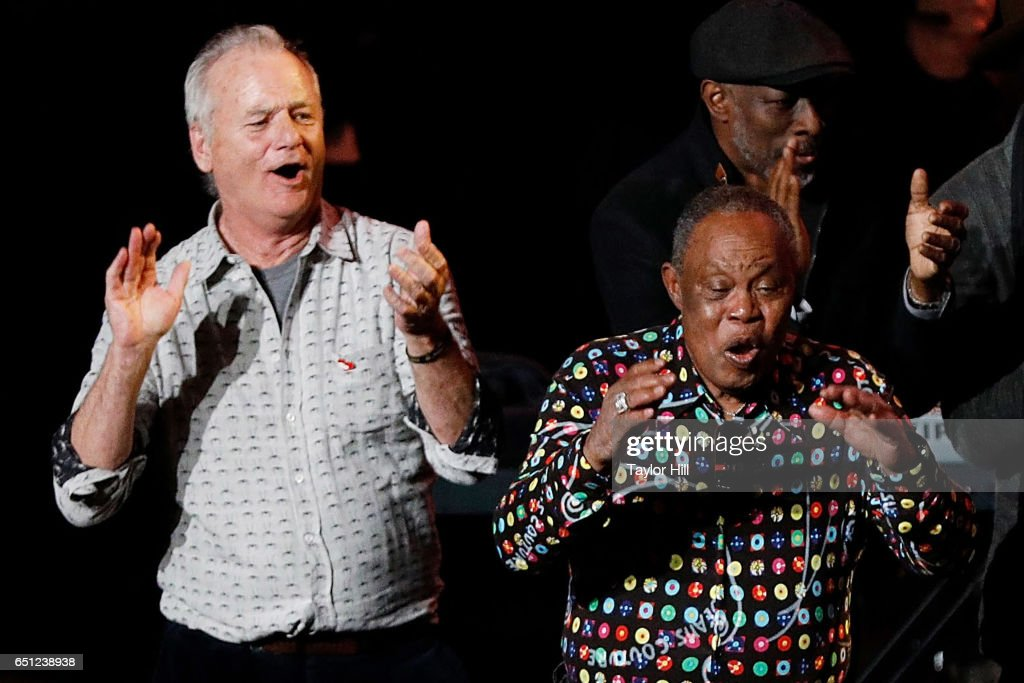 Bill Murray and Sam Moore perform during 'Love Rocks NYC! A Change is Gonna Come: Celebrating Songs of Peace, Love and Hope' - a benefit concert for God's Love We Deliver at Beacon Theatre on March 9, 2017 in New York City.