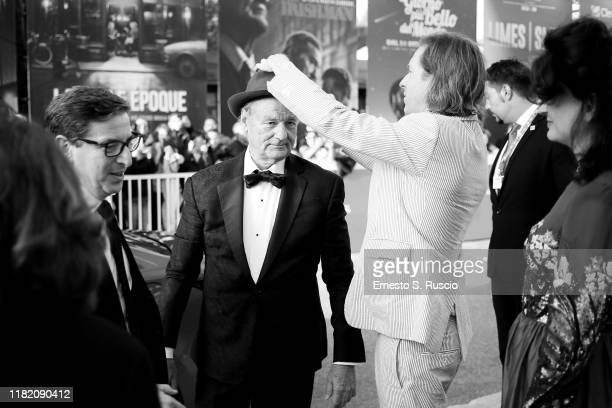 Bill Murray and Wes Anderson walk a red carpet during the 14th Rome Film Festival on October 19 2019 in Rome Italy