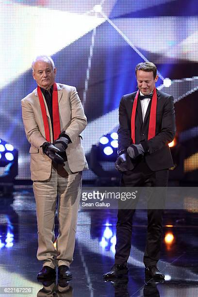 Bill Murray and Wotan Wilke Moehring are seen on stage at the GQ Men of the year Award 2016 show at Komische Oper on November 10 2016 in Berlin...