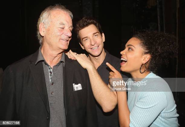 Bill Murray Andy Karl and Barrett Doss chat backstage at the hit musical based on the 1993 Bill Murray film Groundhog Day on Broadway at The August...