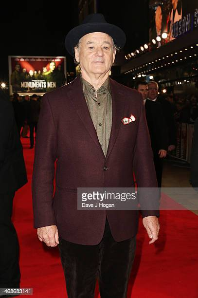 """Bill Murray attends the UK premiere of """"The Monuments Men"""" at The Odeon Leicester Square on February 11, 2014 in London, England."""