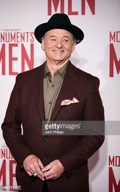 """Bill Murray attends the UK Premiere of """"The Monuments Men"""" at The National Gallery on February 11, 2014 in London, England."""