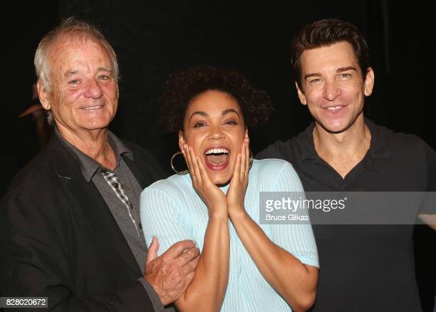 Bill Murray Barrett Doss who plays Rita and Andy Karl pose backstage at the hit musical based on the 1993 Bill Murray film Groundhog Day on Broadway...