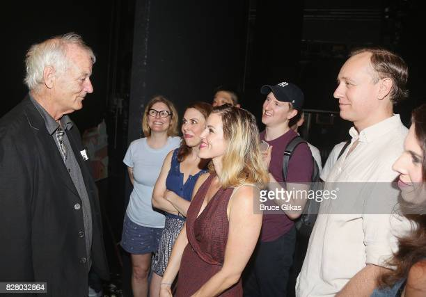 Bill Murray chats with the cast backstage at the hit musical based on the 1993 Bill Murray film Groundhog Day on Broadway at The August Wilson...