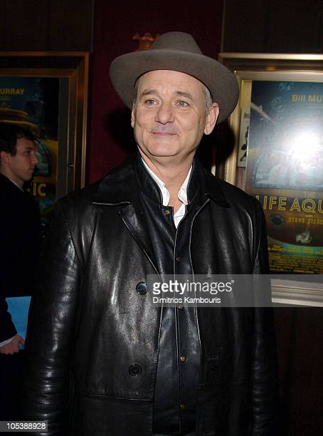 "Bill Murray during ""The Life Aquatic with Steve Zissou"" New York Premiere - Inside Arrivals at Ziegfeld Theater in New York City, New York, United..."
