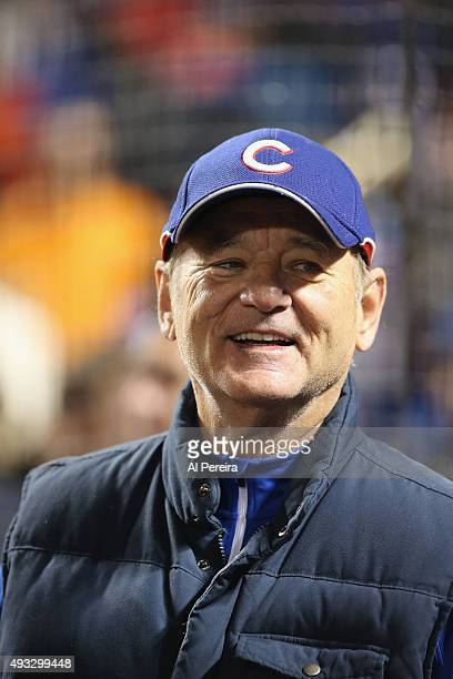 Bill Murray follows the action when he attends the National League Championship Series Game 2 between the New York Mets and Chicago Cubs at Citi...