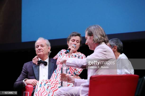 Bill Murray Frances McDormand and Wes Anderson attend the masterclass during the 14th Rome Film Festival on October 19 2019 in Rome Italy
