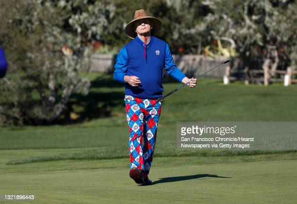 Bill Murray in his colorful dress as he plays the 2nd hole at the Pebble Beach Golf Links, during the third round of the AT&T Pebble Beach Pro-Am on...