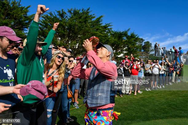 Bill Murray interacts with fans during the third round of the ATT Pebble Beach ProAm at Pebble Beach Golf Links on February 10 2018 in Pebble Beach...