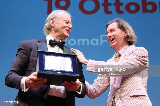 Bill Murray is awarded by Wes Anderson with Lifetime Achievement Award during the 14th Rome Film Festival on October 19 2019 in Rome Italy