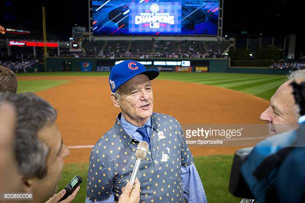 Bill Murray is interviewed on the field following the 2016 World Series Game 7 between the Chicago Cubs and Cleveland Indians on November 02 at...