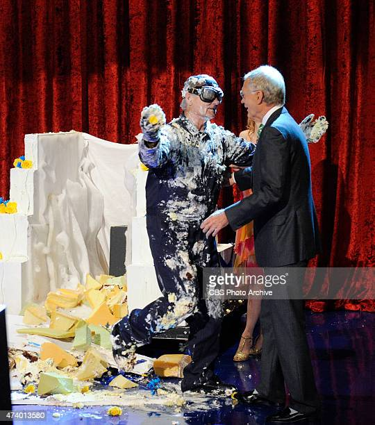 Bill Murray jumps out of giant cake when he makes his final appearance on the Late Show with David Letterman Tuesday May 19 2015 on the CBS...