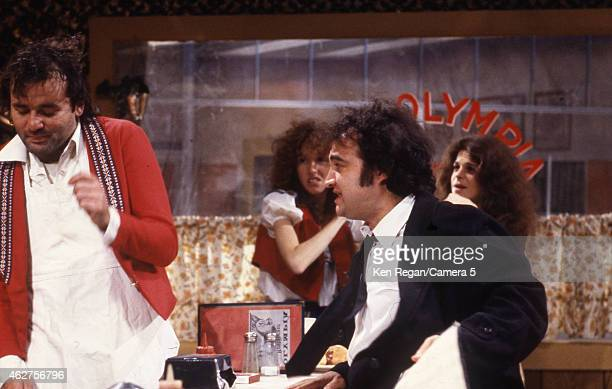 Bill Murray Laraine Newman John Belushi and Gilda Radner are photographed on the set of Saturday Night Live in 1978 in New York City CREDIT MUST READ...