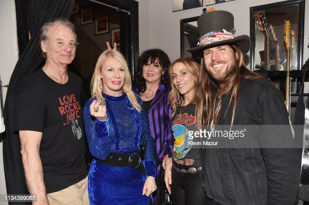 Bill Murray Nancy Wilson Ann Wilson Sheryl Crow and Lukas Nelson pose backstage during the Third Annual Love Rocks NYC Benefit Concert for God's Love...