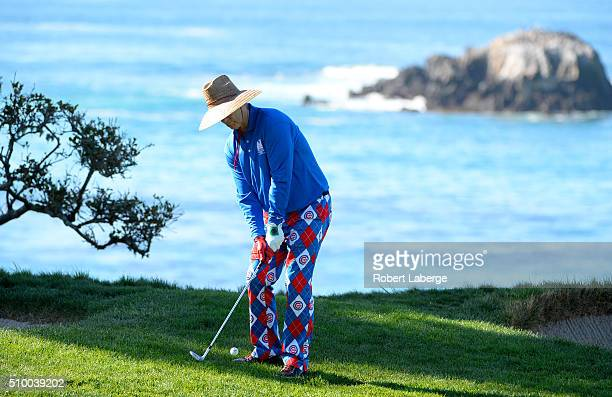 Bill Murray plays a shot from the rough near the fourth green during round three of the ATT Pebble Beach National ProAm at the Pebble Beach Golf...