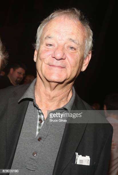Bill Murray poses backstage at the hit musical based on the 1993 Bill Murray film Groundhog Day on Broadway at The August Wilson Theatre on August 8...