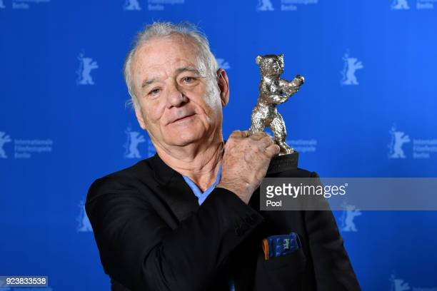 Bill Murray poses with the award he accepted for Wes Anderson, winner of the Silver Bear for Best Director for 'Isle of Dogs', at the Award Winners...