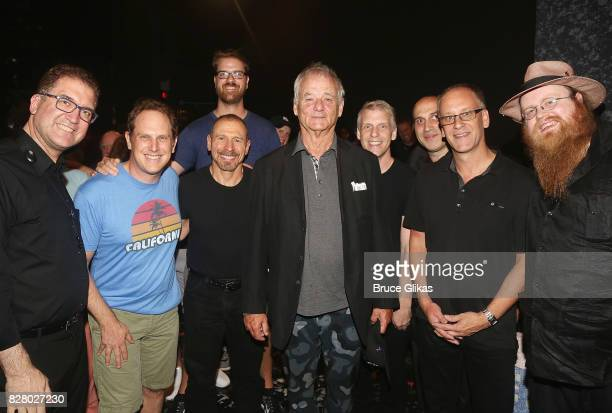 Bill Murray poses with the band backstage at the hit musical based on the 1993 Bill Murray film Groundhog Day on Broadway at The August Wilson...