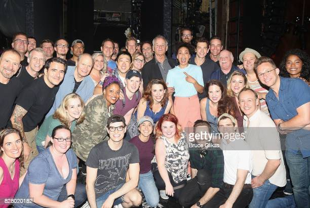 Bill Murray poses with the cast and crew backstage at the hit musical based on the 1993 Bill Murray film Groundhog Day on Broadway at The August...
