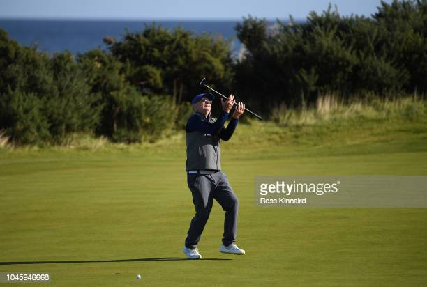 Bill Murray reacts after a putt on the 12th during day two of the 2018 Alfred Dunhill Links Championship at Kingsbarns Golf Club on October 5 2018 in...