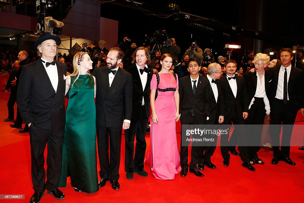 Bill Murray, Saoirse Ronan, Ralph Fiennes, Wes Anderson, Lea Seydoux, Tony Revolori, Bob Balaban, Florian Lukas, Tilda Swinto and Edward Norton attend 'The Grand Budapest Hotel' Premiere and opening ceremony during the 64th Berlinale International Film Festival at Berlinale Palast on February 6, 2014 in Berlin, Germany.