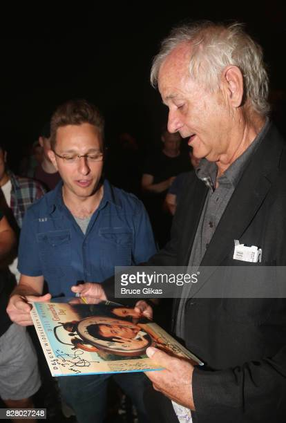 Bill Murray signs autographs backstage at the hit musical based on the 1993 Bill Murray film Groundhog Day on Broadway at The August Wilson Theatre...
