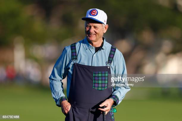Bill Murray smiles at the crowd on the 18th hole during Round Three of the ATT Pebble Beach ProAm at Pebble Beach Golf Links on February 11 2017 in...