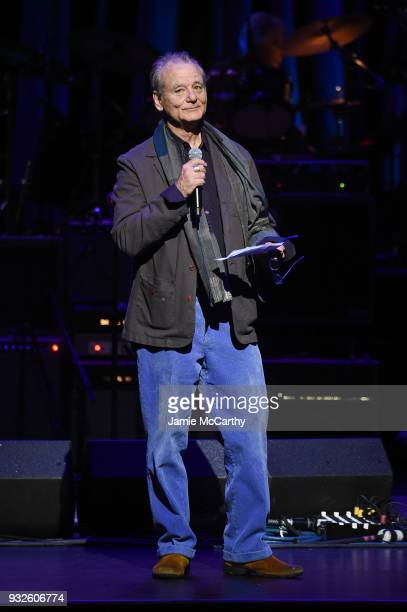 Bill Murray speaks onstage at the Second Annual LOVE ROCKS NYC A Benefit Concert for God's Love We Deliver at Beacon Theatre on March 15 2018 in New...