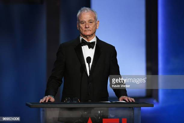 Bill Murray speaks onstage during the American Film Institute's 46th Life Achievement Award Gala Tribute to George Clooney at Dolby Theatre on June...