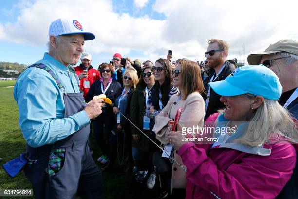 Bill Murray speaks with fans during Round Three of the ATT Pebble Beach ProAm at Pebble Beach Golf Links on February 11 2017 in Pebble Beach...