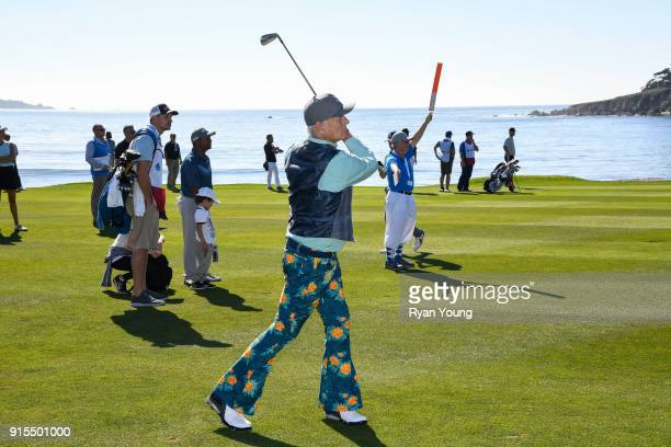 Bill Murray swings during practice of the ATT Pebble Beach ProAm at Pebble Beach Golf Links on February 7 2018 in Pebble Beach California