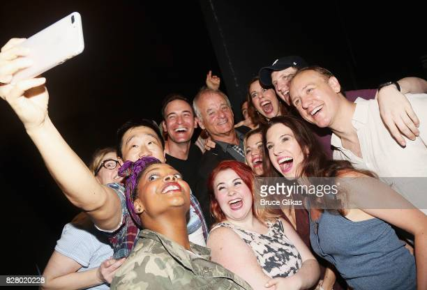 Bill Murray takes a selfie with the cast backstage at the hit musical based on the 1993 Bill Murray film Groundhog Day on Broadway at The August...