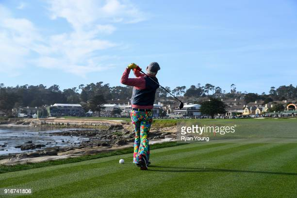 Bill Murray tees off on the 18th hole during the third round of the ATT Pebble Beach ProAm at Pebble Beach Golf Links on February 10 2018 in Pebble...