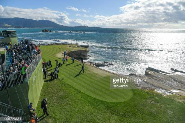 Bill Murray tees off on the eighteenth hole tee box during the third round of the ATT Pebble Beach ProAm at Pebble Beach Golf Links on February 9...
