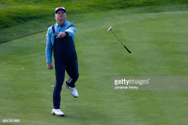 Bill Murray tosses his putter after making birdie on the seventh hole during Round Three of the ATT Pebble Beach ProAm at Pebble Beach Golf Links on...