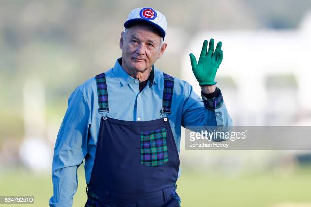 Bill Murray waves at the crowd on the 18th hole during Round Three of the ATT Pebble Beach ProAm at Pebble Beach Golf Links on February 11 2017 in...