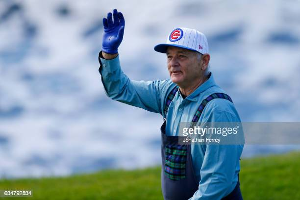 Bill Murray waves at the crowd on the seventh hole during Round Three of the ATT Pebble Beach ProAm at Pebble Beach Golf Links on February 11 2017 in...