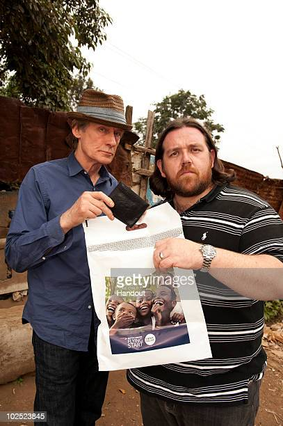 Bill Nighy and Nick Frost visit Kicoshep a project funded by Comic Relief for people affected by HIV/AIDS on June 29th in Nairobi Kenya British...