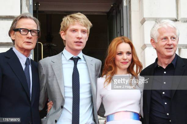 Bill Nighy Domhnall Gleeson Rachel McAdams and Richard Curtis attend the world premiere of 'About Time' at Somerset House on August 8 2013 in London...