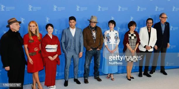 Bill Nighy Katherine Jenkins Akiko Iwase Johnny Depp Minami Aileen Mioko Smith Hiroyuki Sanada and Andrew Levitas attend a photo call of Minamata...