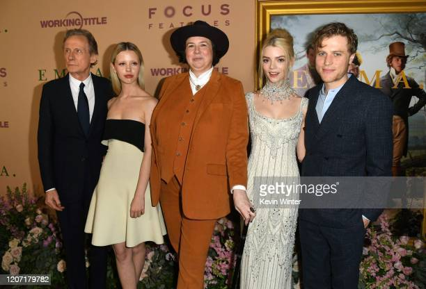 Bill Nighy Mia Goth Autumn de Wilde Anya TaylorJoy and Johnny Flynn attend the premiere of Focus Features' Emma at DGA Theater on February 18 2020 in...