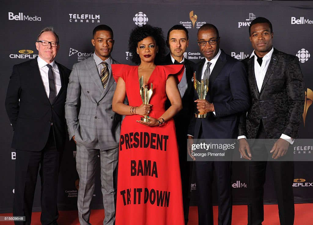 Bill Niven, Stephan James, Aunjanue Ellis, Damon D'Oliveira, Clement Virgo and Lyriq Bent pose in the press room at the 2016 Canadian Screen Awards at the Sony Centre for the Performing Arts on March 13, 2016 in Toronto, Canada.