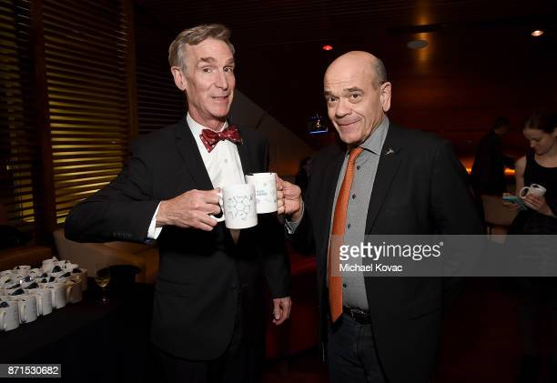 Bill Nye and actor Robert Picardo attend the after party for the Los Angeles Premiere of Bill Nye Science Guy at Westside Pavilion on November 7 2017...