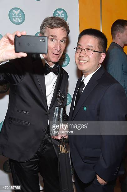 Bill Nye and Andrew Huang take a selfie backstage during the 7th Annual Shorty Awards on April 20 2015 in New York City