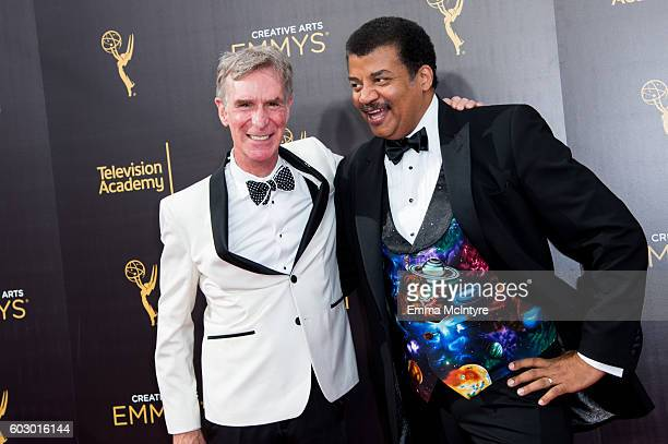 Bill Nye and Neil deGrasse Tyson arrive at the Creative Arts Emmy Awards at Microsoft Theater on September 10 2016 in Los Angeles California