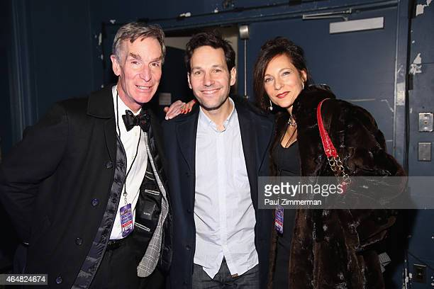 Bill Nye and Paul Rudd attend the Comedy Central Night Of Too Many Stars after party at the American Museum of Natural History on February 28 2015 in...