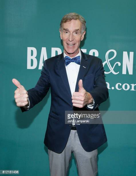 Bill Nye attends a conversation with Rachel Feltman at Barnes Noble Union Square on July 10 2017 in New York City