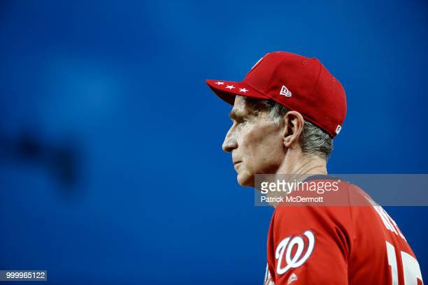 Bill Nye looks on during the AllStar and Legends Celebrity Softball Game at Nationals Park on July 15 2018 in Washington DC